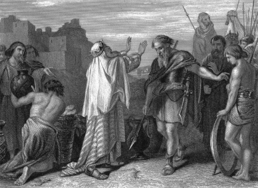 The meeting of Abraham and Melchizedek (believed to be Shem - one of the sons of Noah (Photo Credit: http://endtimepilgrim.org/melchizedek.htm)