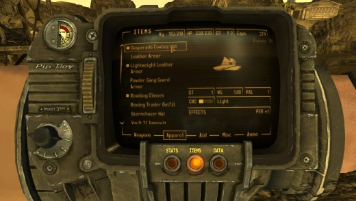 Just like in Fallout 3, you have a wrist-mounted device called a Pip Boy, which displays virtually everything you need to know, from quests, to maps, to your health status and what weapons and items you're carrying, and so much more.