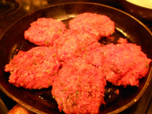 Cooked shaped patties in olive oil for 20 mins, turning once to brown both sides