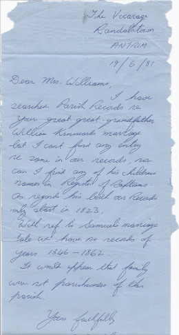 One reply of many replies to many letters we wrote in the 1980s for information on the parents of William Kinnaird of Killnock, County Antrim, Ireland.