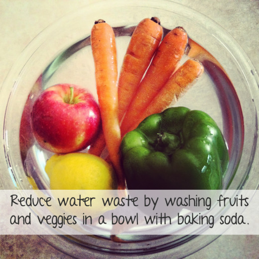 Frugal living tips - Save water and money by cleaning produce in a bowl with a water and baking soda solution.