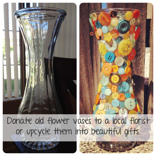 I recycled this old vase and made a colorful piece of art.