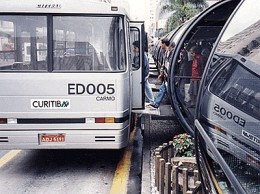 Bus at tube station in Curitiba.