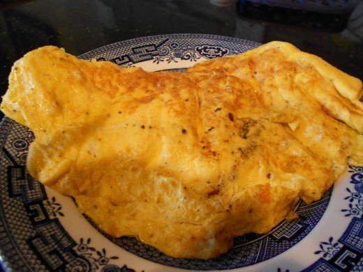 A fluffy three egg omlette makes an easy and nutritious lunch or supper.