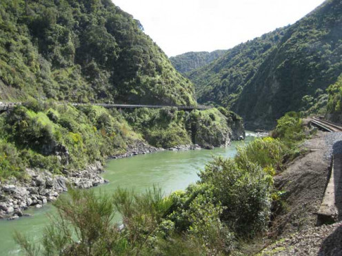 Manawatu Gorge which acts like a funnel for the wind that blows at great speeds to turn the wind turbines.
