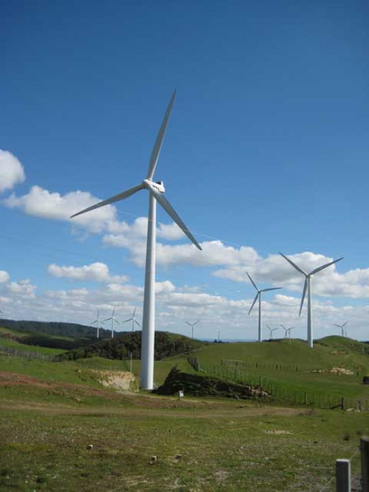 Wind mills on the wind farm near Woodville, New Zealand