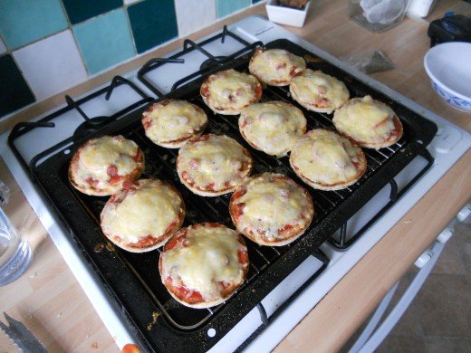 Place the pizzas under the grill for 2-4 minutes, until the cheese has fully melted.
