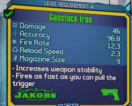 Borderlands 2 Gunstock Iron allows for rapid firing.