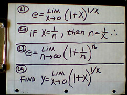 e, The Base of the Natural Logarithms--limit defined: