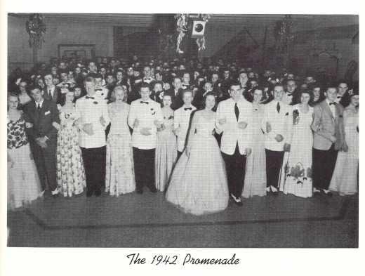 Although in 1943 because of the war, there was NO Prom, I speculate that they put this photo into the album probably because some of the same students would have been attending the school also in 1942.  Fun to see the styles back then!