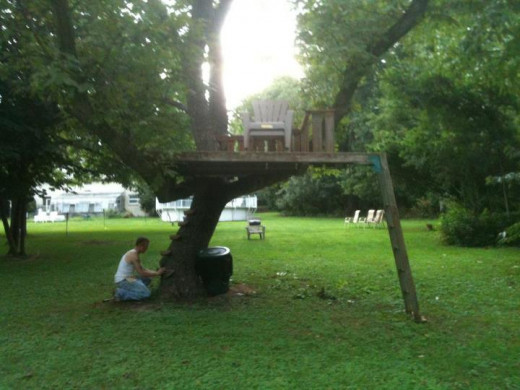 For kids, it's a tree house.  For a zombie incursion, it's a trap.