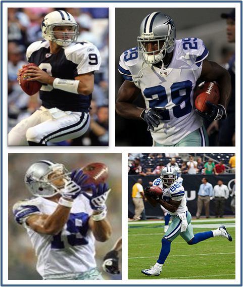 Tony Romo, DeMarco Murray, Miles Austin, Dez Bryant and Jason Witten lead the Dallas Cowboys offense.