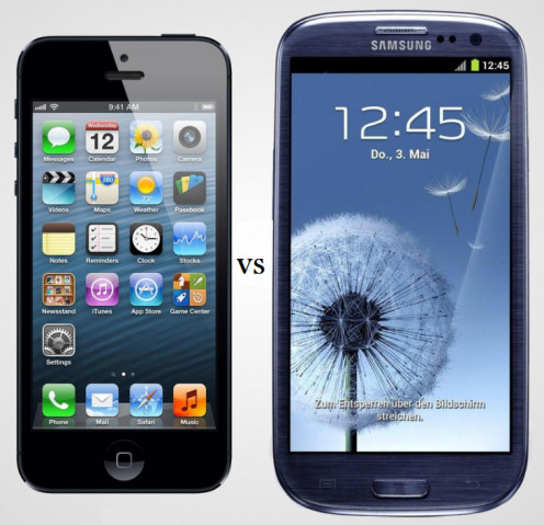 iPhone 5 vs. Galaxy SIII (images to scale)