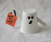 Plastic Cup Made Into a Ghost