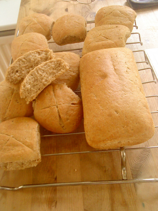 Wholemeal Oat Loaf and Rolls Waiting to be Eaten