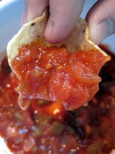 THIS SHOWS SALSA, BUT I USED A DAB OF MAYO AND A CHERRY TOMATO.  GREAT SNACK!