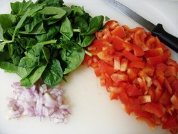 Shallot, Bell Pepper and Spinach