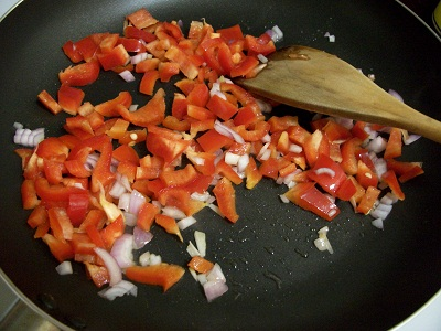 Shallot and Bell Pepper Being Stir-Fried