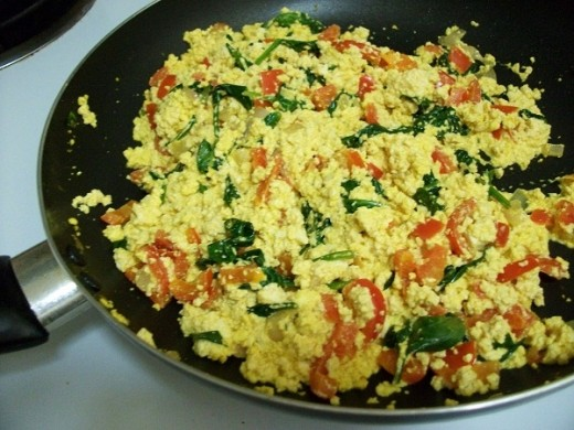 Vegan Scrambled Eggs Ready to be Served