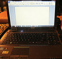 My Toshiba laptop with a blank screen--ready to write!