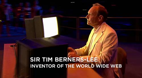 "Sir Timothy Berner's Lee at the 2012 Olympics. He's tweeting: ""This is for everyone."""
