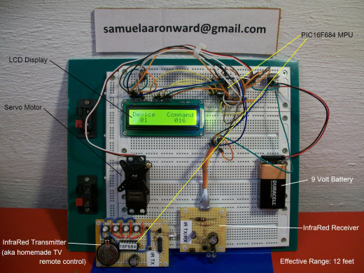 Infrared Receiver Circuit w/ LCD Display and Servo Motor