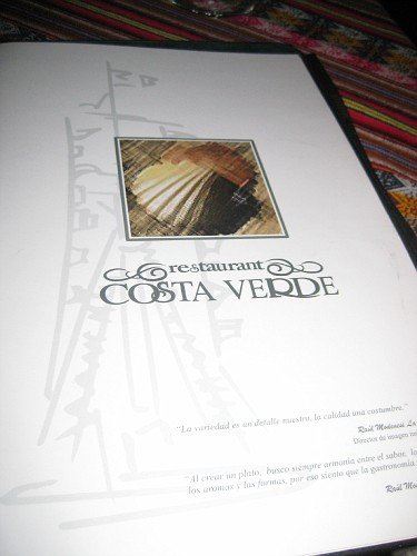 The menu at Costa Verde