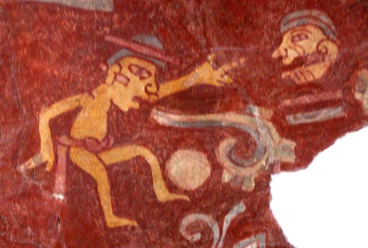 "Tepantitla mural of a ball player. Could also be known as, ""HEADS UP!!!""  By Daniel Lobo (Daquella manera) (Flickr) [CC-BY-2.0 (http://creativecommons.org/licenses/by/2.0)], via Wikimedia Commons"