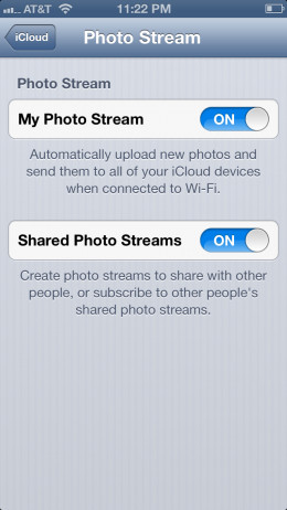 """Enable """"My Photo Stream"""" and """"Shared Photo Streams,"""" then press the """"Home'"""" button."""