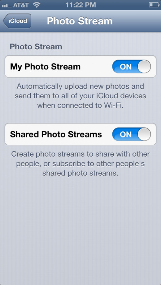 "Enable ""My Photo Stream"" and ""Shared Photo Streams,"" then press the ""Home'"" button."