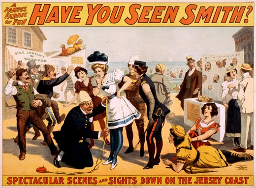 "This poster for ""Have you seen Smith?"", a Broadway musical revue and comedy from 1898, is in the public domain in the United States because it was published (or registered with the U.S. Copyright Office) before January 1, 1923."