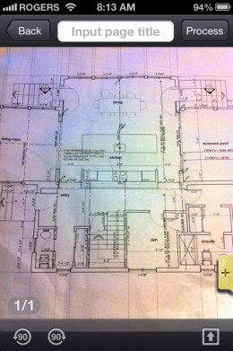 This is a photo one page of house plans I used the CamScanner for.
