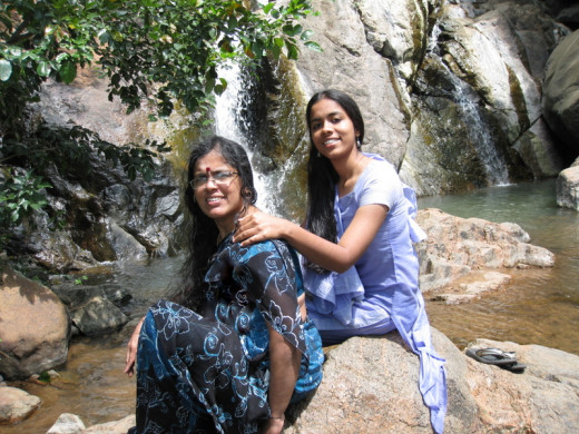 Mom and me enjoying after the fun-filled experience in the falls in Yealagiri