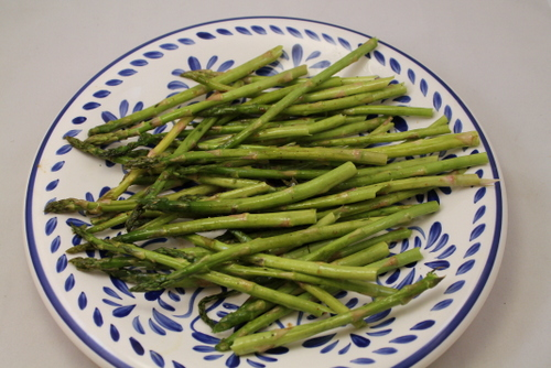 Coat the asparagus with the olive oil mixture