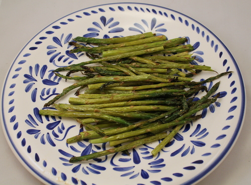 Oven roasted asparagus - browned, tasty, and ready to eat.