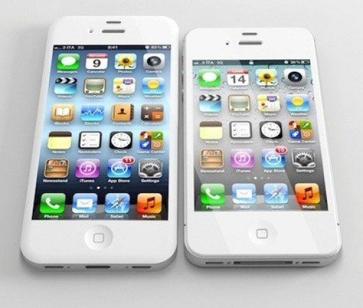 Comparison of display on iPhone 5 and iPhone 4