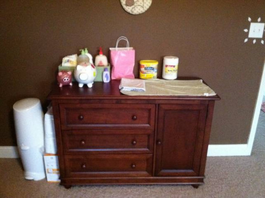 Rib height dresser, Formula, Wipes, Green Diaper caddy, Diaper Genie