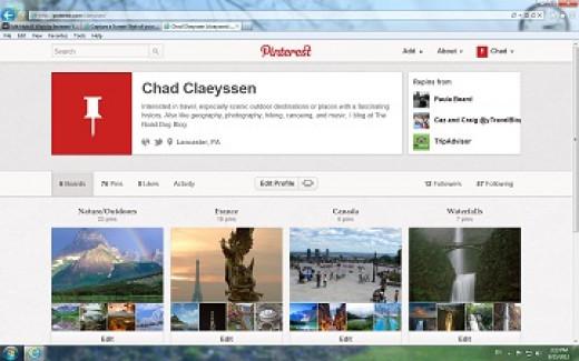 A screenshot of Pinterest
