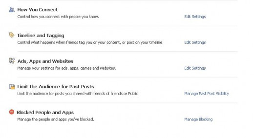 All of the major privacy options listed in your Facebook settings.
