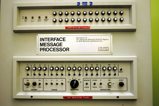 Front panel of the Interface Message Processor, used to transmit the first internet message
