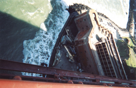 Eagle-eye view of Fort Point from the Golden Gate Bridge
