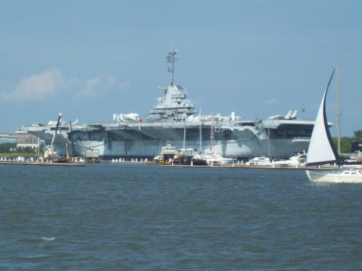 View of USS Yorktown from Charleston Harbor