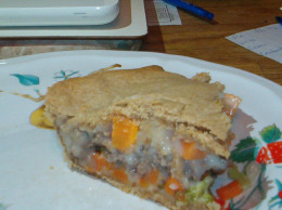 Pot pie makes for a cozy meal, and this one is lower in fat and calories!