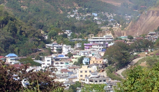 The Burmese town of Tachileik, Myanmar next  to the northern Thai border town of Mae Sai