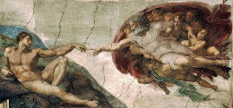 God creating Adam, detail of a painting by Michelangelo, Sistine Chapel.