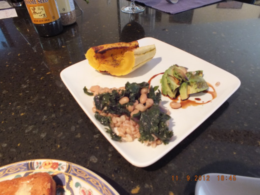I served the kale and beans with delecta squash and avocado.