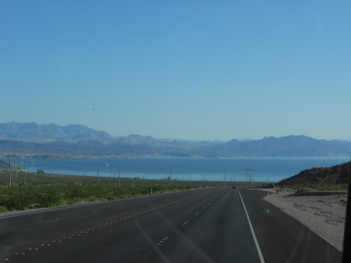 The drive by bus from Las Vegas is very scenic.