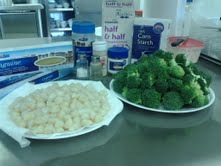 Here we are prepping everything for our Scallop dish.