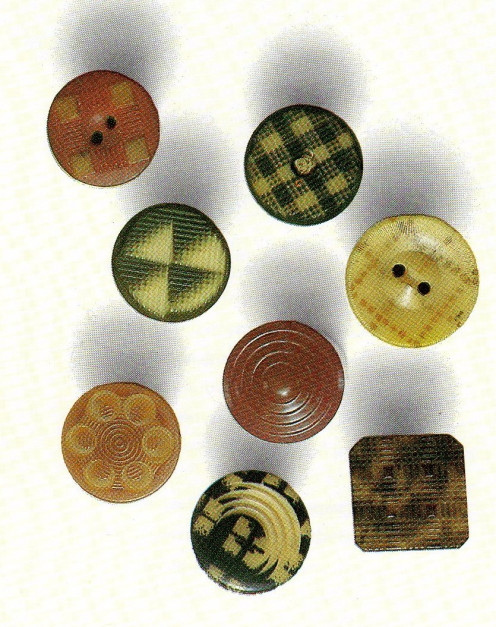 misc. buttons from vegetable ivory from the book Buttons by Fink and Ditzler