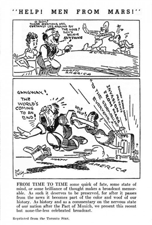 War of the Worlds Cartoon by Les Callan of The Toronto Star (February 1939)